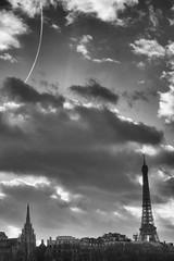 Eiffel Tower clouds (2.6 m views ! https://society6.com) Tags: 17janvier2018 paris tower visite blackandwhite cloud cloudy eiffel jsebouvi light noiretblanc nuage sky soir