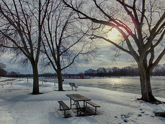 Winter Time Benches (kendoman26) Tags: bench happybenchmonday hdr nikhdrefexpro2 illinoisriver travelillinois enjoyillinois fuji fujifinepix fujifinepixf750exr