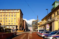 Mountain view (A. Wee) Tags: innsbruck tirol austria at 奥地利 因斯布鲁克 police station 警察局 südtiroler platz plaza europe 欧洲