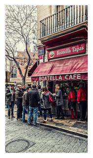 Street Snacking - As Popular As Ever ( La Boatella Tapas Bar) Valencia (Cross Process effect & border) ( Fujifilm X70 with 21mm wide angle converter)