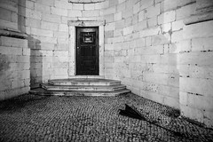 a short story about the broken umbrella (ignacy50.pl) Tags: abstract night nightlights minimal minimalism blackandwhite architecture door umbrella walls lisbon cityscape