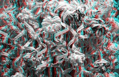 Wax Ribbons (Irrational Photography) Tags: montreal quebec canada anaglyph stereo stereograph photo picture red cyan blue magenta 3d anaglyphs photography fuji fujifilm w3 finepix canon slr dslr t2i 550d 5d mark iii digital lens wax ribbon mofa musee des beau arts basement white black bw irrational