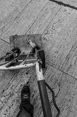 Job (MARCOCARCEAPH) Tags: nikon nikonphoto blackwhite ascending vehicle production man tire compactor calamity machinery job work working worker carrello bravetta fast worn lived operaio black white day fatigue effort carrier