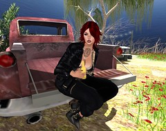A city girl, a pickup truck, and beer (cejalaval) Tags: secondlife sl slfashionblogger style fashion freckles firestorm fashionblogger fashionblogging fashionblog redhead tonic tattoo truck laq windlight wow bento beer mesh kc dselles swank livia