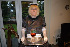 Sparkly uniform 06 (sissybarbie1066) Tags: sissy maid barbie sparkly holographic sequins 247 livein serving tray wine glass sissymaid