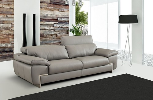 Modern Italian Leather Taupe Sofa Collection