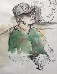 Charlie, at Rogue Eastside (boodiba) Tags: drawing sketch artist drawingfromlife onedrawingaday studio1482 mixedmedia inkpen watercolour watercolourpencil pdx