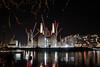 Battersea Power Station (gallowaydavid) Tags: battersea power station river thames nightshot cranes lights reflections