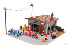 Antique gas station