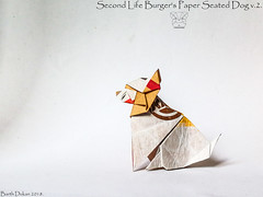 Second Life Burger's Paper Seated Dog v.2 - Barth Dunkan. (Magic Fingaz) Tags: anjing barthdunkan chien chó dog gremlins hond hund köpek monster origami perro pies пас пес собака หมา 개 犬 狗