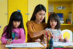 Asian teacher and preschool student in art class (I love landscape) Tags: teacher school student child kid education learning people girl children preschool happy cute asia little childhood elementary class young female woman thailand classroom teaching pencil thai kindergarten drawing home caucasian year art students bangkok boy activity study writing hispanic daycare concept asian together mother backtoschool smile fun paper technology small