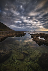 The canvas of heaven (Beatriz-c) Tags: sunset atardecer landscape paisaje clouds nubes sea mar oceano rocks rocas travel traveling viaje viajar aventure aventura coast costa green verde azul blue sky cielo tenerife canary islands islas canarias