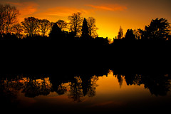 Moseley Park Sunset (nic_r) Tags: moseley birmingham birminghamuk pool reflection silhouette water park