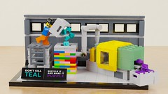 How would I kill Teal again? Maybe this way. :) (BrickJonas) Tags: lego teal moulding machine recycling bricks contest competition