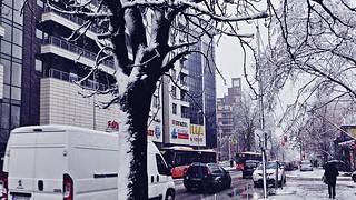 Snowy city street landscape