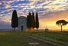 Sunrise at Vitaleta Chapel (Agrippino Salerno) Tags: tuscany vitaletachapel agrippinosalerno canon manfrotto sunrise alba sanquiricodorcia contryside colors morning clouds nuvole sole luce sun light green beautiful valdorcia