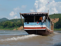 Following the Underwear (Toats Master) Tags: laos mekongriver river boat water colors waterfront
