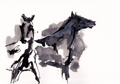 Horses In The Mist [20171124]-2 (rodneyvdb) Tags: abstracted animal art blackandwhite bw contemporary drawing expression expressionism figurative fineart horse horseart horseriding ink modern painting sketch
