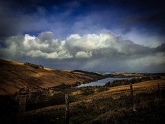 Crai Reservoir in Winter (Explore) (Rae de Galles) Tags: mountains mountain cold afternoon sky skies blue clouds grass britain uk nationalpark fence winter rain water cymru wales breconbeacons beacons brecon crai reservoir