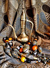 Still life. (Country Girl 76) Tags: still life brass shawl beads morocco turkey memories colour afghan tagamout