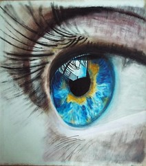 "Macro eye painting in acrylic  22"" X 24"" (dave@greatcoates) Tags: pupil iris eyelash eyebrow wink painting look blink stare glance art vision seeing sight eyeball focus lens camera"
