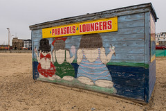 (ihavenowords) Tags: canong7xmarkiigreatyarmouthnorfolk beach sand sea deck chair stall booth shed painted decorated bathers parasols loungers colour england great britain uk united kingdom coast winter 20 20th january 2018