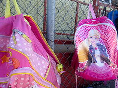 IMG_5446 (classroomcamera) Tags: school outside playground fence hang pink barbie belongings post classroom yellow