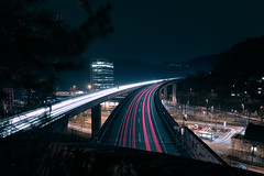 All in, few out (Marc R. A.) Tags: city urban cityscape cityscapes nightphotography night architecture bridge lighttrails stuttgart street