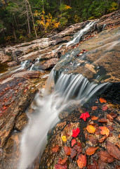 Autumn Cascades In The White Mountains (lestaylorphoto) Tags: america usa newengland newhampshire whitemountains autumn fall foliage colors travel nikon d610 leslietaylor lestaylorphoto cascade waterfall water flow