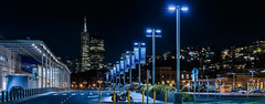 the last one to leave after disembarkation (pbo31) Tags: sanfrancisco california nikon d810 color black night dark city urban february 2018 winter boury pbo31 skyline lightstream motion traffic roadway panoramic large stitched panorama pier27 cruiseshipterminal motorcycle late parkinglot lightpole littleitaly embarcadero transamerica blue