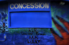 2018_02_13_life_journey _DP31035 20180213-31035 (dpowersdoc) Tags: lifeisajourney selectivefocus concession death end graffiti lensbaby sign irony concessionstand refreshmentstand