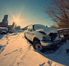 Truck Stop (Dave Linscheid) Tags: winter snow cold sun starburst ford pickup f250 texture textured freshsnow fisheye 8mmrokinonlens butterfield watonwancounty mn minnesota usa