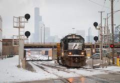 BC06 Departure (Wheelnrail) Tags: ns norfolk southern locomotive railroad rail road emd gp60 f40ph2 metra chicago canal st lumber train trains skyline sears tower snow winter bc06 loco local passenger amtrak signal