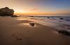 Warm, Pink, Seaweed to Water (JohnLazo19) Tags: 1635mm beach canon5dmarkiv elmatador landscapes morning ocean rocks sunrise water waves