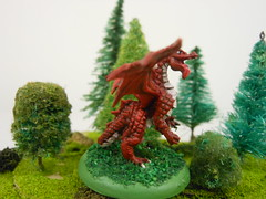 dragon2 (Giantnerdguy) Tags: dragon red green trees tree bush model mini miniature reaper paint painting