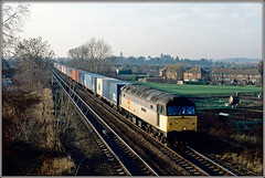 47330, Warwick (Jason 87030) Tags: triplegrey subsector warwick lineside cold december weather season tren 47330 spoon duff bruh beauty winter sky warks warwickshire liner frecht freight containers shot slide scan 1991 britishrail old ocl houses allotments