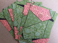 Pink and green chiyogami (artnoose) Tags: studio supplies etsy japanese yuzen paper chiyogami shapes geometric flowers flower gold green pink