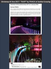 "Christmas At Kew @ 31 December 2017 - ""DUET"" by ITHACA at Sackler Crossing (Kam Hong Leung 06) Tags: ""beatriceleung"" kam ""kamhongleung"" ""leungkamhong"" 'brianpitcher' 'tonykirkham' 'kewgardens' 'worldheritagesite' 'unescoworldheritagesite' unesco london richmond garden ""friendofkew"" ""palmhouse"" 'templeofbellona' 'sacklercrossing' bridge lake tree arboretum christmas 'christmasatkew' 'christmastree' 'lightfestival' 'tunneloflight' 'laserbeam' 'newyear' 'newyeareve' 'santaclause' elf elves path mistletoe sledge sledgetree trail baubles bubble 'firegarden' 'singingtrees' 'turkeyoak' 'sweetchestnut' 'helterskelter' 'gardenoflight' girl music ""yourkew"" ""naturalneighbourhood"" biodiversity ""glasshouse"" plant flora fauna video palmhouse christmasatkew duet ithaca ithacastudio"