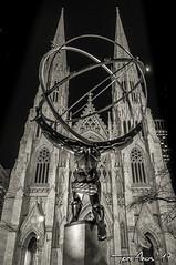Manhattan, NYC 2017 (Xtarlight) Tags: fototoni newyork nuevayork manhattan buildings building arquitecture arquitectura blackandwhite blancoynegro sepia atlas statue church cathedral st patrick san patricio