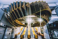 'Interloop' by Chris Fox (Leighton Wallis) Tags: sony alpha a7r mirrorless ilce7r 1635mm f40 emount wynyard sydney nsw newsouthwales australia train subway station art installation escalator
