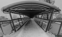 Who is on the other side? (kentkirjonen) Tags: canon 80d sweden sverige dalarna ue wood trä snow snö dark mörkt bridge bro walking gång gångbro steel stål structure struktur person other side andra sidan ludvika expensive dyr