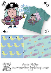 Annie-McGee-Ahoy-There (northernbirddesigns) Tags: foliofocus childrens illustration pirates sea pattern design nautical ahoy pirate girls fish parrot