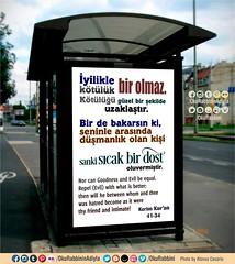 Kur'an 41-34. (Oku Rabbinin Adiyla) Tags: allah kuran islam ayet ayetler hadis dua pray prayer rahman oku god religion billboard adeverts quranverse