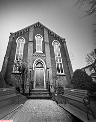 Grace Methodist, Niagara on the Lake (DelioTO) Tags: 4x5 architecture autaut blackwhite canada d23 desaturated doors f175 fomapan100 lake ontario pinhole rain trip winter