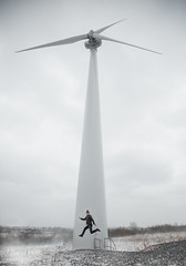 Jump (self portrait) (Tomas Ramoska) Tags: wind turbine winter cold snow tomas ramoska tomasramoska wide angle landscape cityscape jump shot 2018 leicestershire leicester derby derbyshire nottingham nottinghamshire uk england gb self portrait selfie ice blades ashbydelazouch ashby