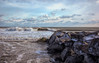 What remains after the storm (madre11) Tags: winterlandscape winterinnewhampshire winterstorm beachwavesocean frozen rocks wallissandsbeach new hampshire seacoast wild waves atlanticocean ryenh bluesky clouds sand