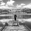 Sitting in the dock of the lake (*Backstage Photo*) Tags: girl woman femme mujer noia dona lake blackandwhite blancoynegro espalda back swimsuit bikini bw flickr lago outdoor square verano spain