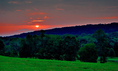 Country Sunrise (Jim DeFazio) Tags: sunrise dawn earlymorning buckscounty pa pennsylvania country rural rustic sunup mountains hills trees woods forest landscape scenic redsky sky countryside green blue red greengrass field