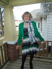 I Know It's Still January, But After A While A Girl Tires Of Wearing Those Muted Tones Of The Season (Laurette Victoria) Tags: tights scarf dress jacket woman winter laurette porch milwaukee