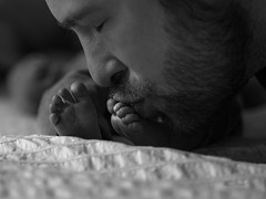 The love of a father (paulstewart991) Tags: canon70d canadian meaford bw newborn closeup feet baby dad precious lightshadow